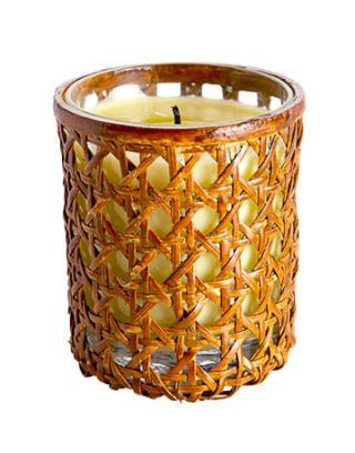 votive candle with a cane design