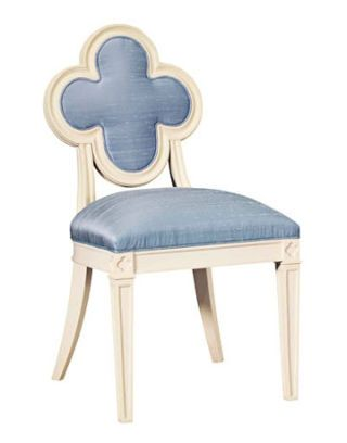 blue silk and mahogany chair