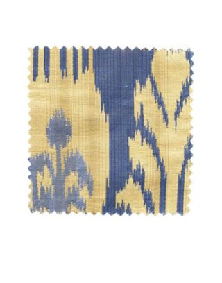 a swatch of bold blue and yellow fabric