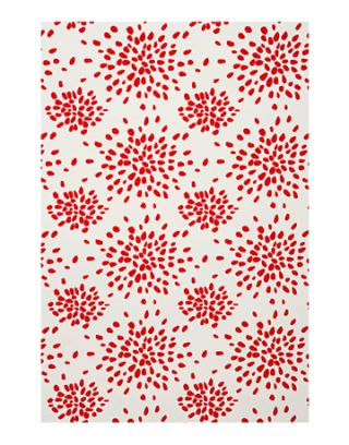 fireworks pattern wallpaper in red on white