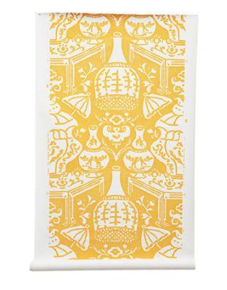 parasols on sunshine yellow wallpaper