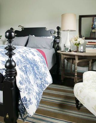 bed with side table and chair