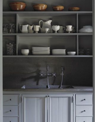 gray pantry with sink