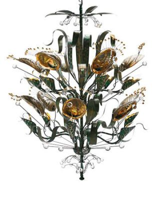 floral abalone chandelier