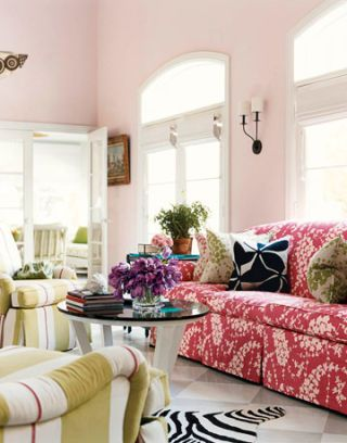 another view of the pink living room