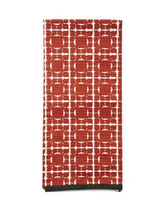 red and white dish towel