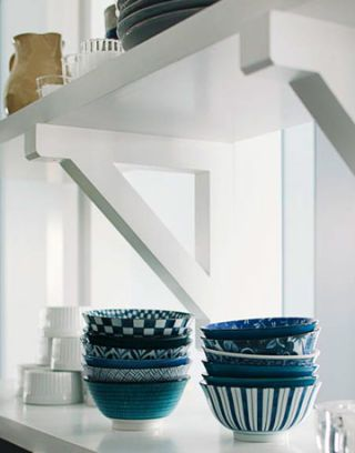 shelves with bowls