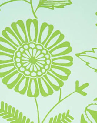 closer look at green and blue wallpaper print