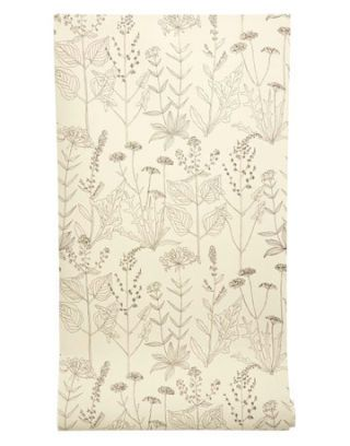 cream and charcoal floral wallpaper