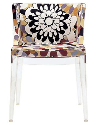 lucite chair with floral pattern