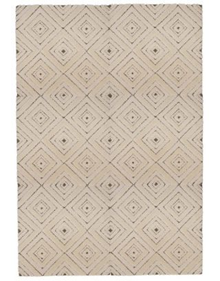 wall to wall beige and chocolate diamond pattern rug