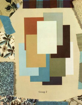 grouping of paint colors and fabrics