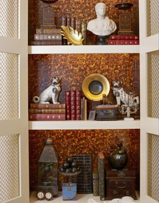 book shelf with small objects
