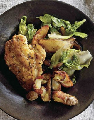 plate with chicken and escarole apples and potatoes