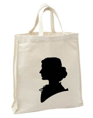 market tote with silhouette of a woman