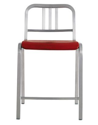 silver counter stool with red seat