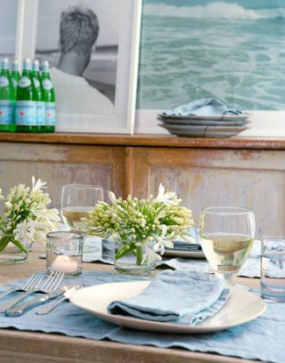 light blue and white table setting