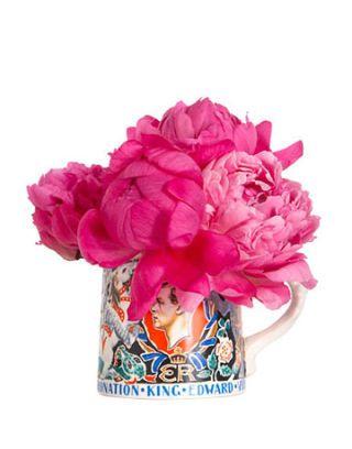 mug with peonies