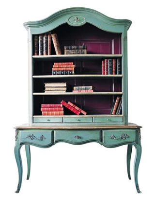 blue bookcase console
