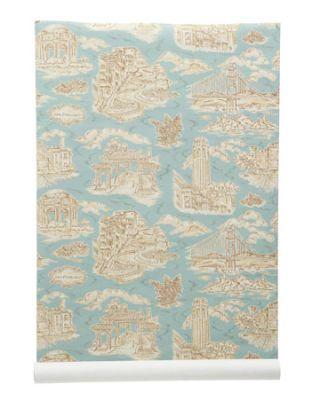blue toile wallpaper