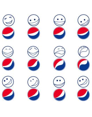 pepsi logos with smiley faces