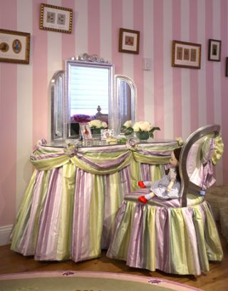 vanity with purple and green striped fabric