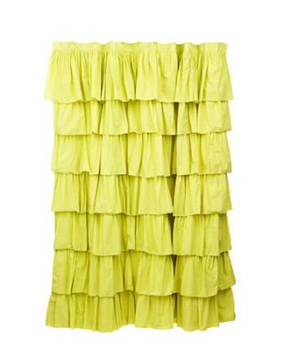 bright yellow green layered ruffles shower curtain