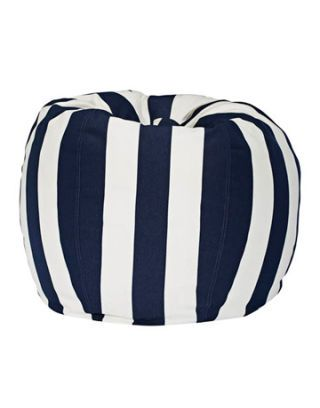 navy and white striped round beanbag chair