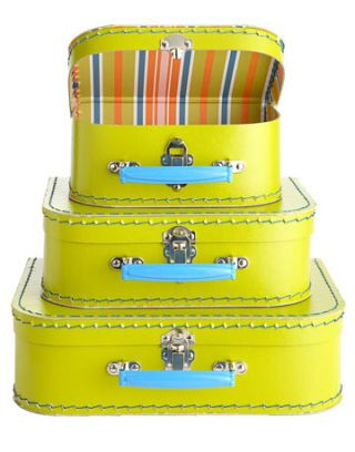 yellow stacked suitcases in different sizes