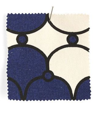 blue white and black geometric fabric swatch