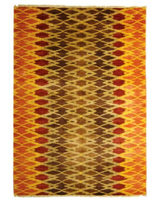 orange red and brown ikat rug