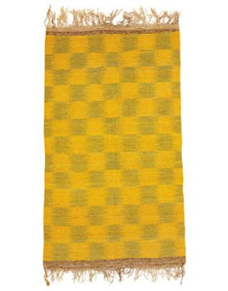 gold and green checkered rug