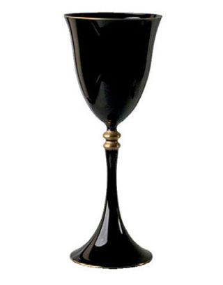 black goblet with gold details