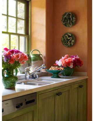 sink and faucet in country kitchen