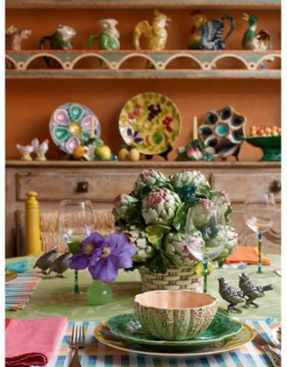 table setting in country kitchen