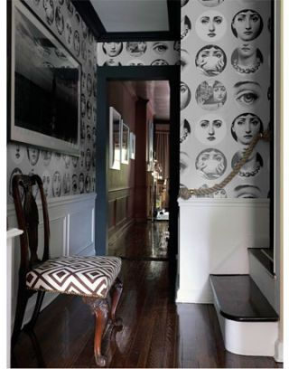 hallway with graphic wallpaper