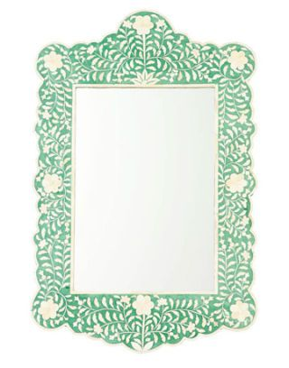 mirror with light blue green floral pattern