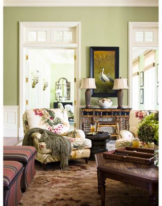 family room with light green walls