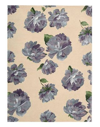 blue flower pattern on a background of taupe