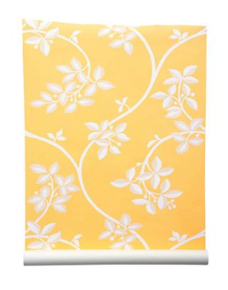 white leafy floral pattern on yellow backgrounds