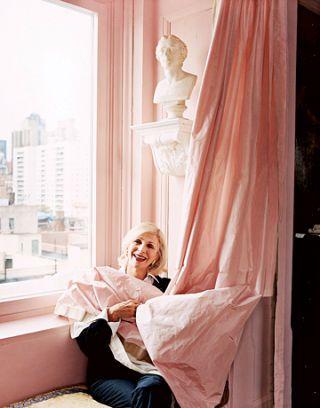 pink curtain window seat