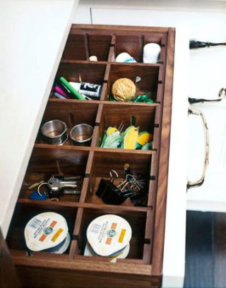 large desk drawer with wooden dividers