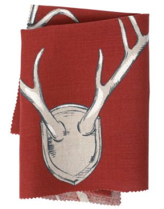 red fabric with antler print
