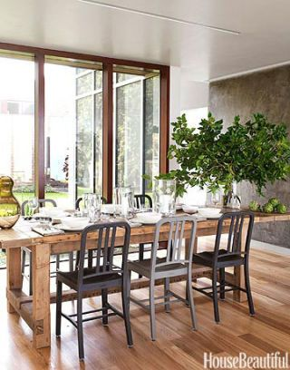 dining table near glass doors