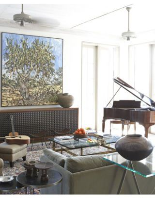 living room with australian landscape painting