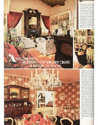 image of magazine page with photos of barbra streisands living and dining rooms