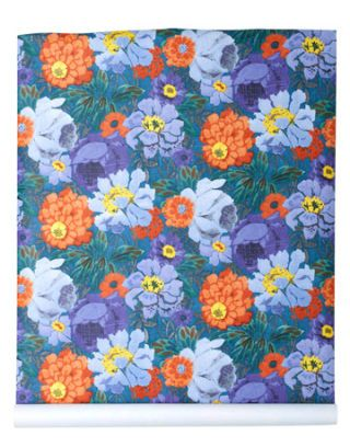 orange purple and blue floral wallpaper