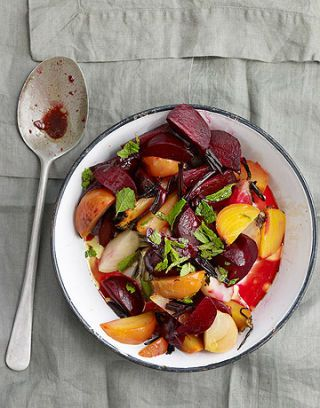 bowl of roasted beets with mint