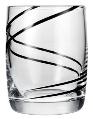 glass tumbler with black swirl line
