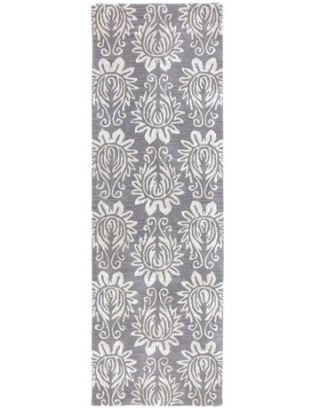 pewter colored patterned rug runner